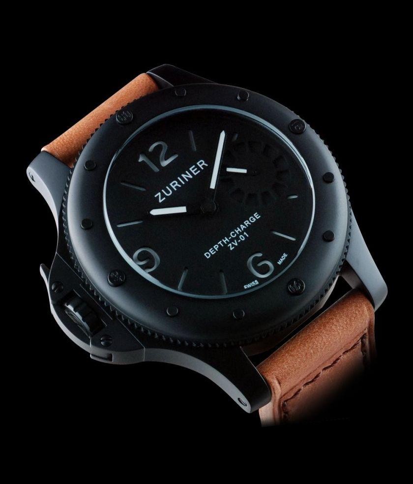 ZURINER DEPTH-CHARGE ZV-01 V06 black dlc diving watch 200 meters
