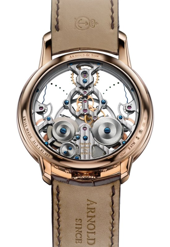 Arnold and Son Time Pyramid watch in red gold case back view