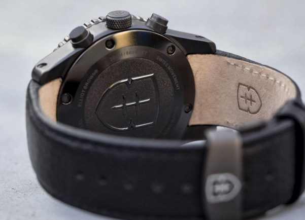 Elliot Brown Bloxworth diver sports chronograph case back view