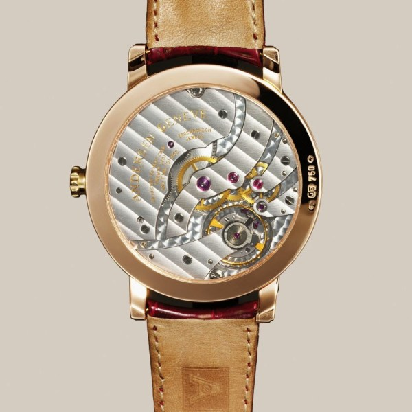 """Andersen Geneve Grande Jour et Nuit Edition 2014 watch with caseback view of Frederic Piguet, 15""""hand wound movement"""