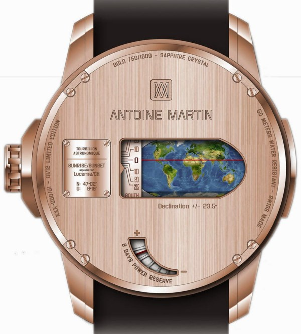 Antoine Martin Tourbillon Astronomique watch with Sunrise and sunset display, Display for the sign of the zodiac and season, Date display, Equation of time display, Retrograde moon with moon phase display and Day and night display