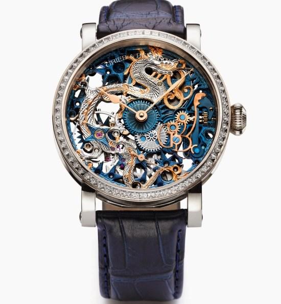 GRIEB & BENZINGER Blue Dragon Imperial Bespoke Watch Palladium White Gold Case Set with Princess Cut Diamonds