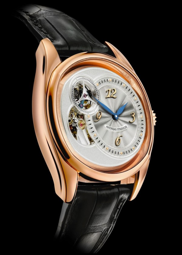 Andreas Strehler Sauterelle rose gold watch