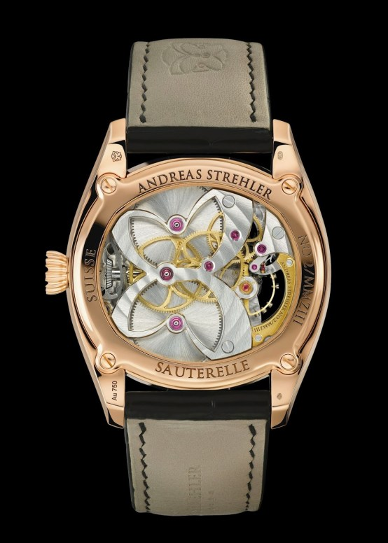 Andreas Strehler Sauterelle watch movement case back view