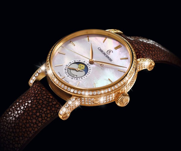 Chronoswiss Sirius Moon Phase Diamonds Automatic watch CH-8521RFP-MP 18-karat red gold, case fully paved with diamonds