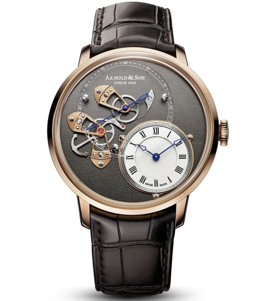 Arnold and Son DSTB watch watch with Silvery opaline, sapphire dial and 18-carat red gold case