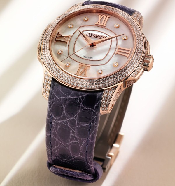 Ateliers deMonaco Ronde de Monte-Carlo watch with rose gold diamond-set case and white mother of pearl dial