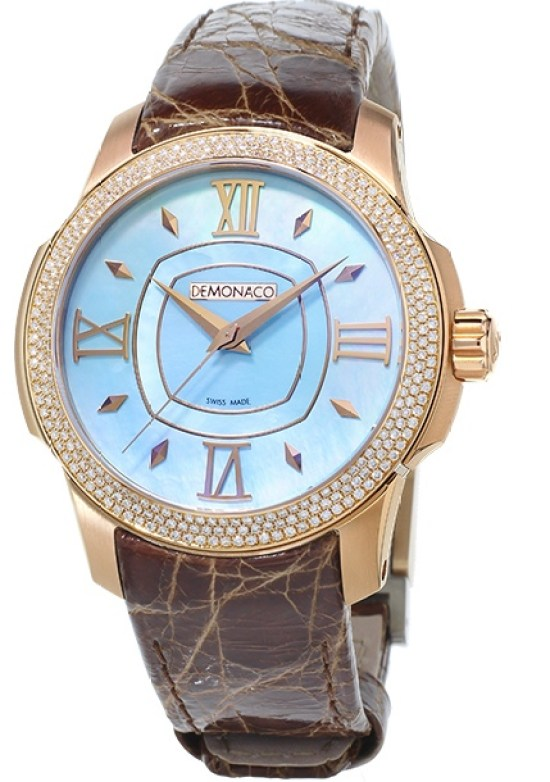 Ateliers deMonaco Ronde de Monte-Carlo watch with rose gold diamond-set case and blue mother of pearl dial