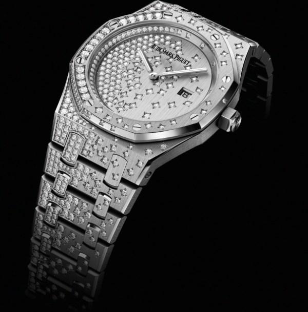 Audemars Piguet Royal Oak Quartz watch diamond set white gold case