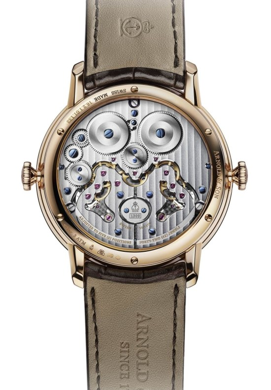 Arnold and Son DBG Skeleton watch case back view