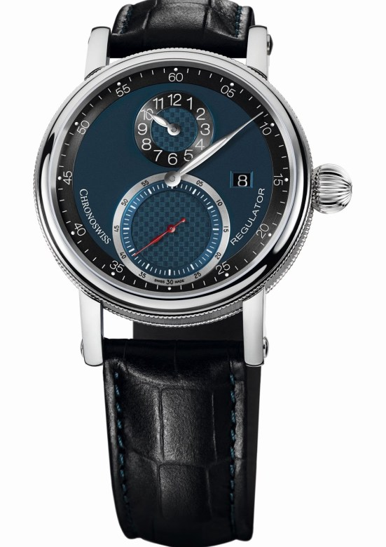 Chronoswiss Sirius Regulator Classic Date Automatic watch CH-8733-BLBK Stainless steel case galvanic blue and black dial
