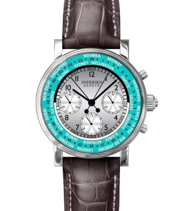 """ANDERSEN Genève """"Split Second Chronograph World Timer"""" Pièce Unique"""