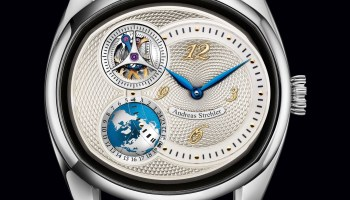 Andreas Strehler Sauterelle à Heure Mondiale watch with silver dial