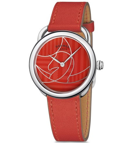 Hermès Arceau Casaque watch red dial with capucine red strap