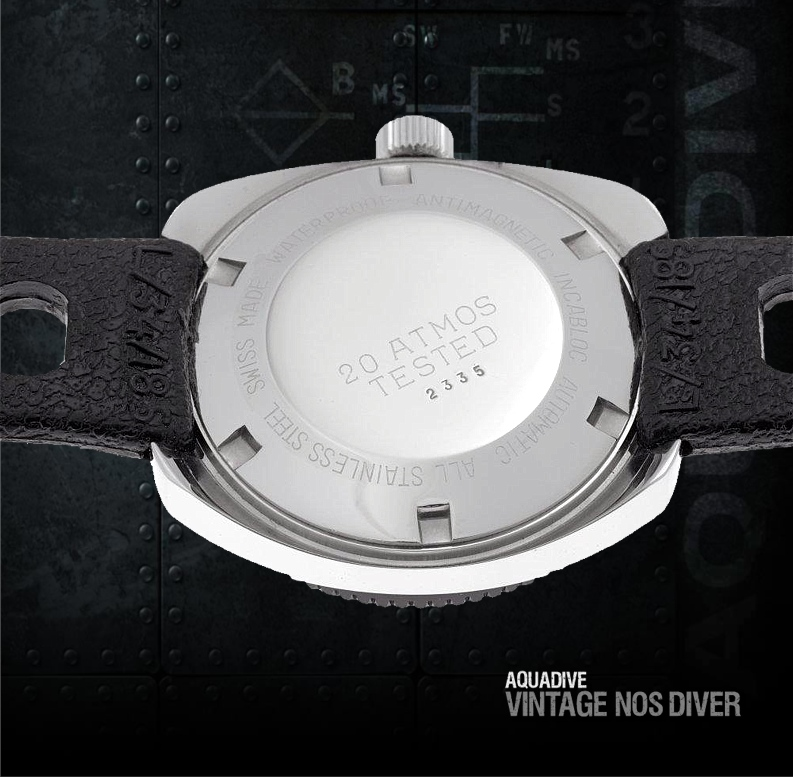 AQUADIVE 200 vintage NOS (New Old Stock) Diver caseback view