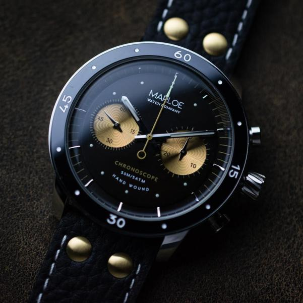 Marloe Watch Company Lomond Chronoscope vintage coffee dial