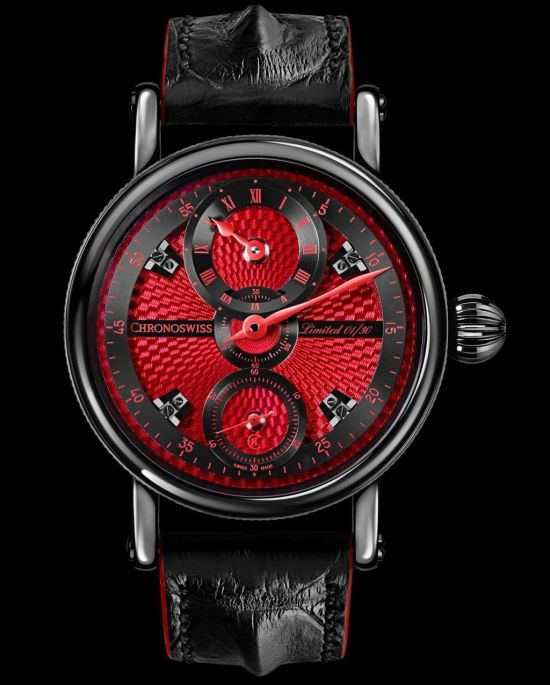 Chronoswiss Flying Grand Regulator watch CH-6723-REBK Stainless steel case with black DLC coating, red dial