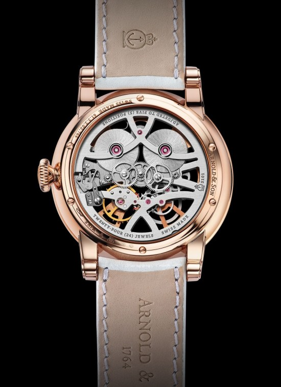 Arnold and Son Nebula Lady watch in red gold case back view