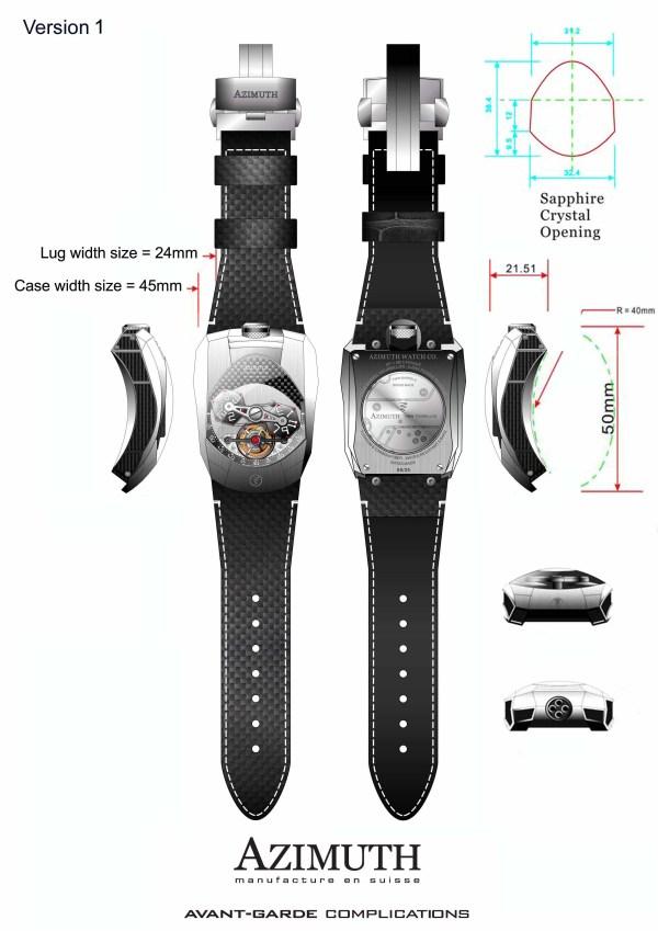 Azimuth Twin Barrel Tourbillon watch version 1