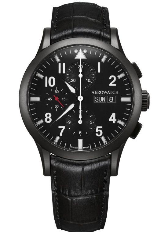 Aerowatch Les Grandes Classiques Chronograph Pilote Ref. A 61948 NO03 Black PVD case Black dial