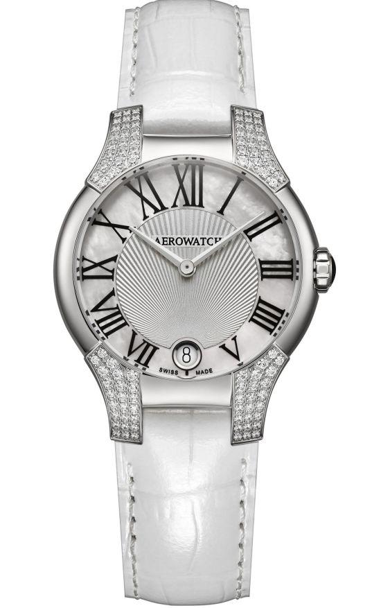 Aerowatch New Lady Collection Ref. A 06964 AA03 96DIA quartz watch with diamond set lugs