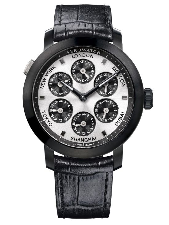 Aerowatch Renaissance Swiss made manual wound wristwatch with 7 Time Zones