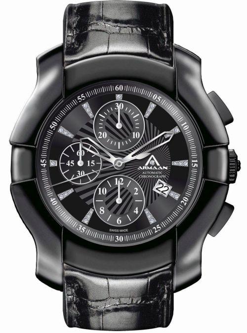 Armaan Swiss Diamond Black DLC Chronograph with diamond set dial
