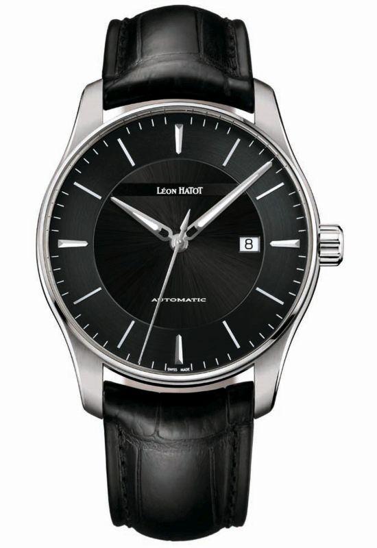 Léon Hatot Men's Classic automatic watch with black dial