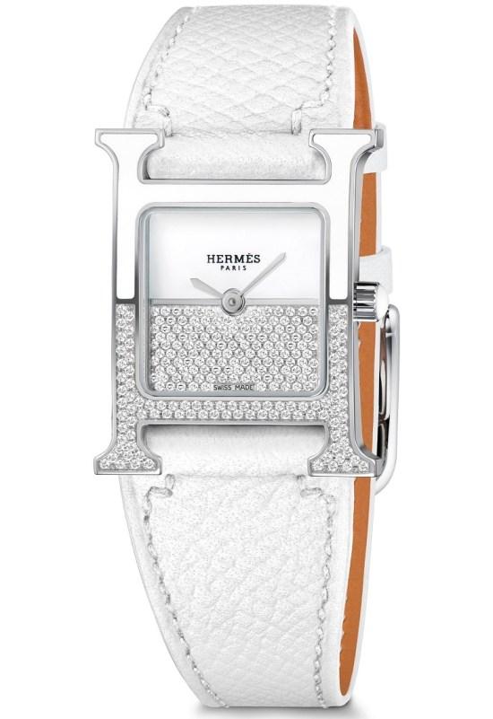 Hermès Heure H Double Jeu watch white dial horizontal setting