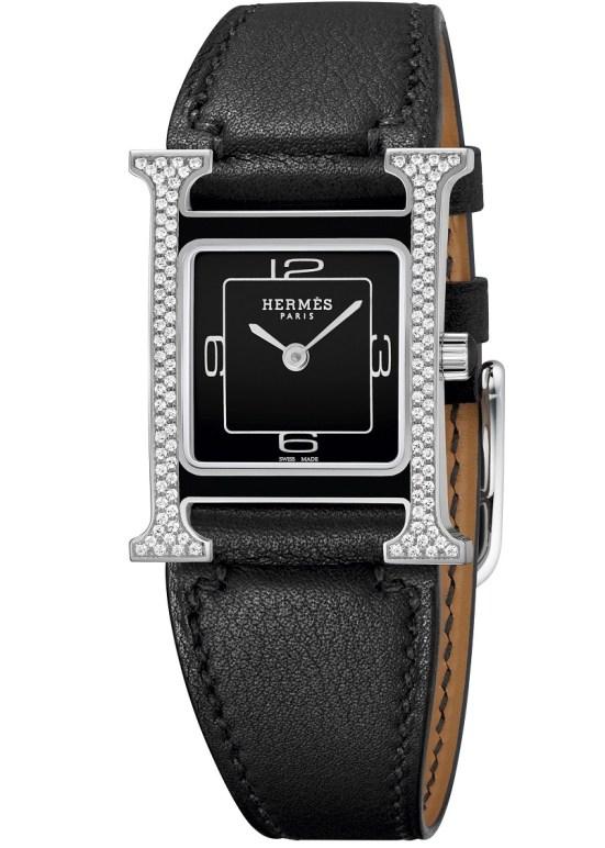 Hermès Heure H Double Jeu watch black dial vertical setting