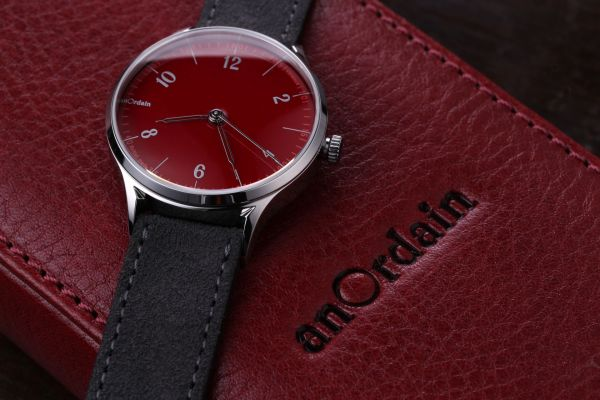 anOrdain Model 1 watch with red dial