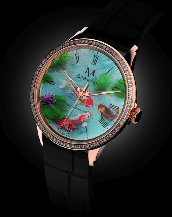 du Manège DM-Heritage gold watch with mineral stone art dial