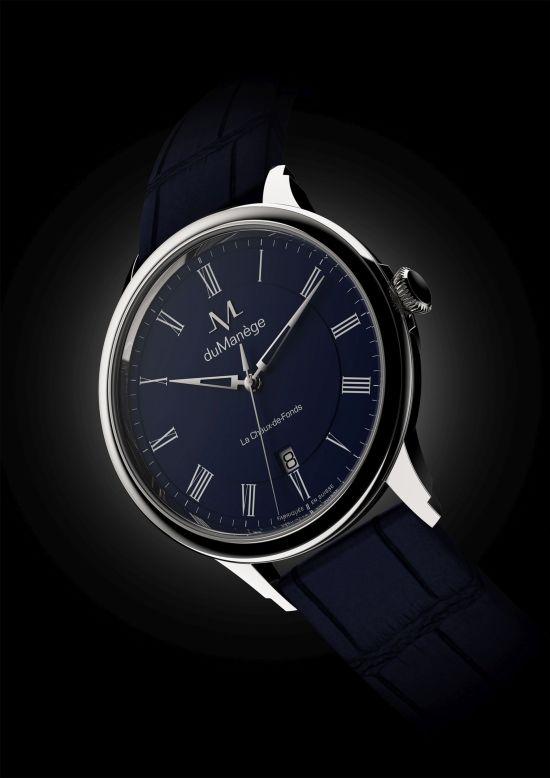 du Manège DM-Heritage steel watch with blue opaline dial