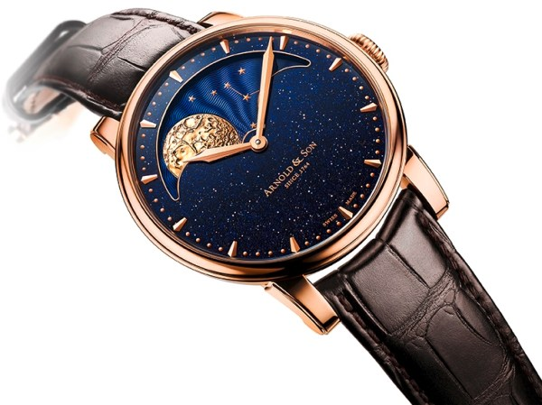 Arnold and Son HM Perpetual Moon Aventurine, New Red Gold Version with Blue Aventurine Stone Dial