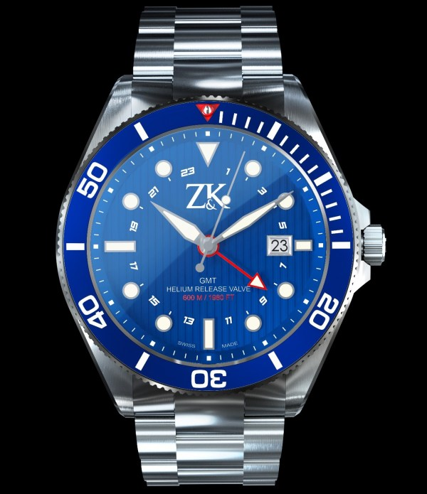 Zahnd & Kormann ZK No. 2 Automatic GMT / Diver Watch with blue dial and blue bezel