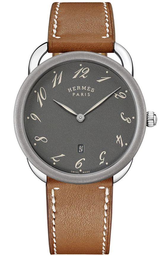 Hermès Arceau 78 stainless steel quartz watch with Grained anthracite dial