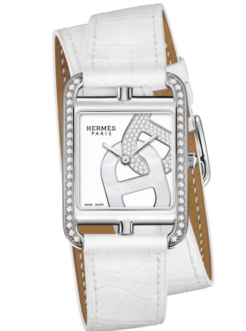 Hermès CAPE COD Chaîne d'ancre watch diamond set case white leather strap