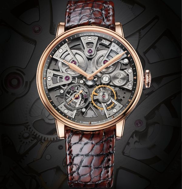 Arnold and Son Nebula 38mm watch with red gold case