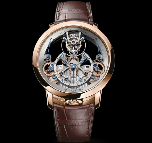 Arnold and Son Time Pyramid Tourbillon watch 18k red gold model