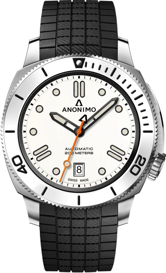 ANONIMO NAUTILO Classic Blanche watch with rubber strap