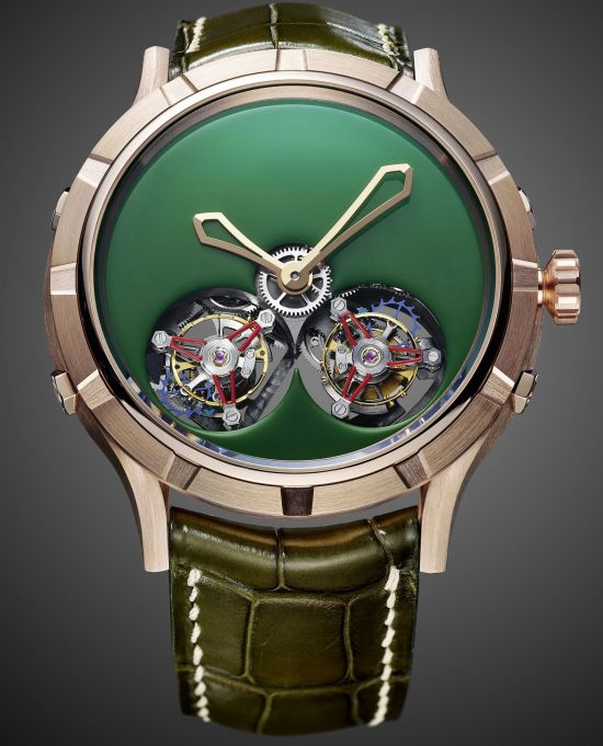 Manufacture Royale Micromegas watch with Pink Gold Case and Khaki Lacquered Dial