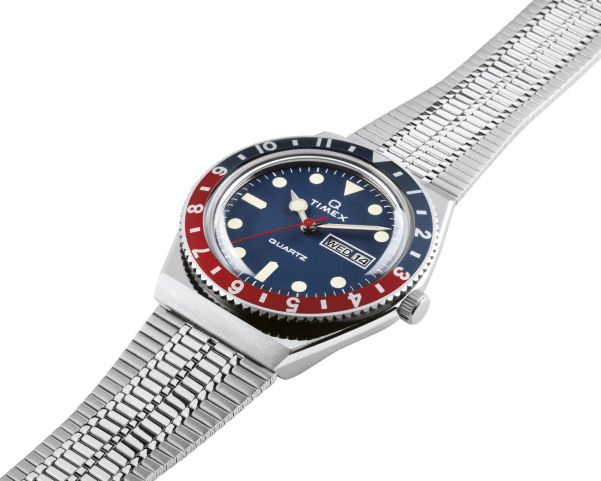 Q Timex watch (2019) with blue dial and blue-red bezel ring