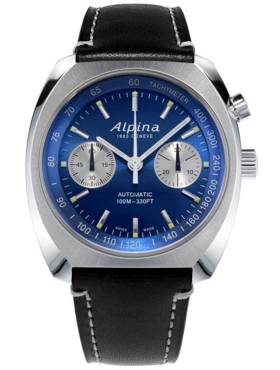 Alpina Startimer Pilot Heritage Chronograph blue dial black leather strap
