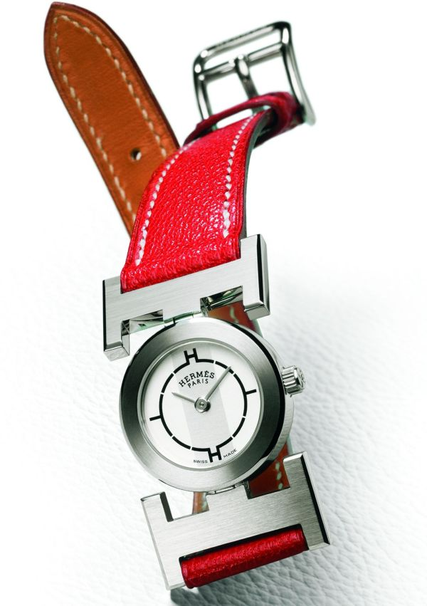 HERMES Paprika watch circa 2002 featuring strap made from Mysore goat