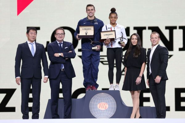 Longines presents the Longines Prize for Elegance to French gymnast Melanie de Jesus dos Santos and American gymnast Samuel Mikulak at 49th Artistic Gymnastics World Championships