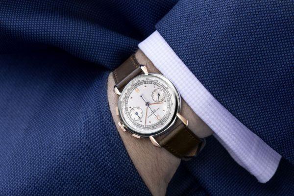 Vacheron Constantin Stainless steel and 18k pink gold 30-minute counter chronograph gentlemen's wristwatch, 1942