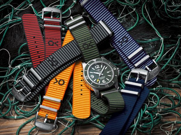 Breitling Superocean Automatic 44 Outerknown watch and Outerknown ECONYL® Yarn NATO Strap Collection