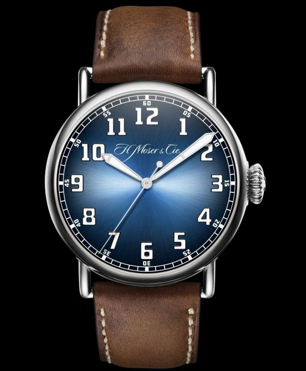 H. Moser & Cie. Heritage Centre Seconds Funky Blue watch, reference 8200-1201, steel model, Funky Blue fumé dial, beige kudu leather strap