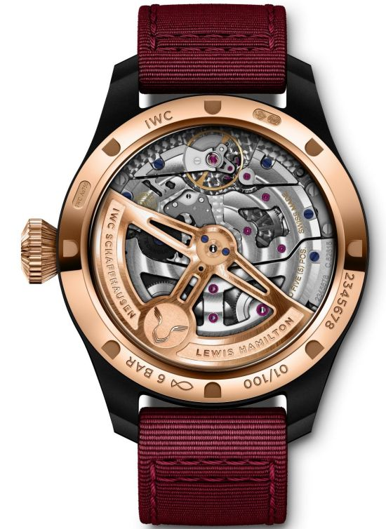 "IWC Schaffhausen ""Lewis Hamilton"" Big Pilot's Watch Perpetual Calendar Edition, Ceramic case, 18-carat 5N gold case back, Bordeaux-red dial, Bordeaux-red textile strap"