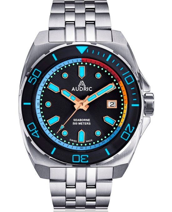 AUDRIC SEABORNE Swiss Made Automatic Diving Watch black with lume